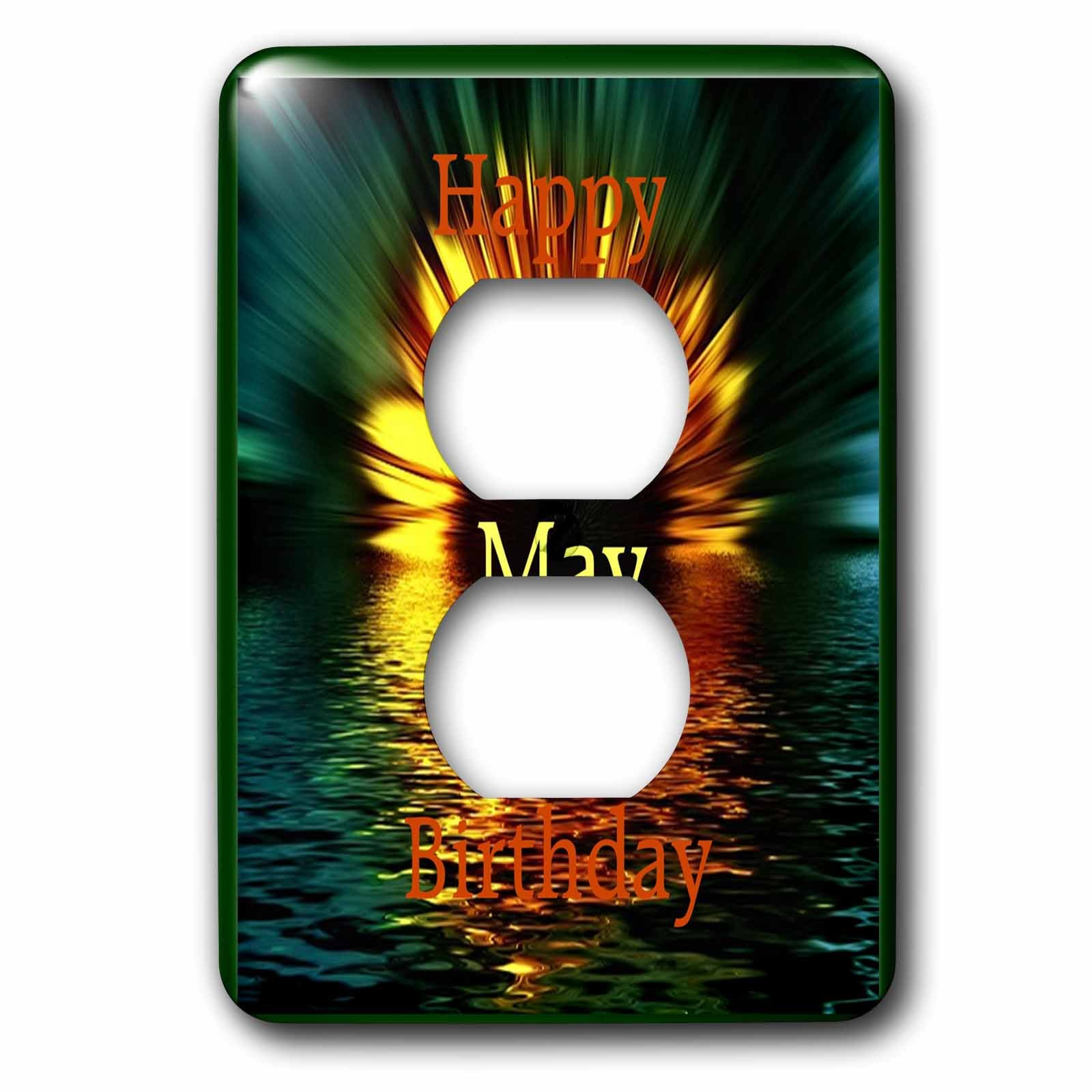Florene Monthly Anniversary And Birthday Designs - Image of Happy May Birthday As Daisy Sinks In Sunset Water - Light Switch Covers - 2 plug outlet cover (lsp_243786_6) by 3dRose