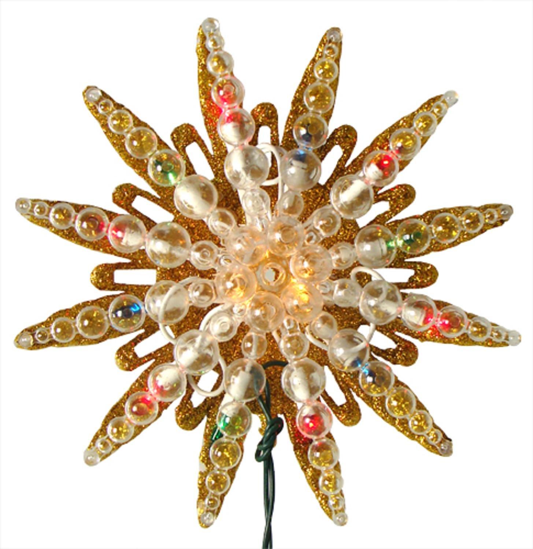 9 Pre-Lit Gold Glitter Starburst Christmas Tree Topper - Multi Lights Hofert