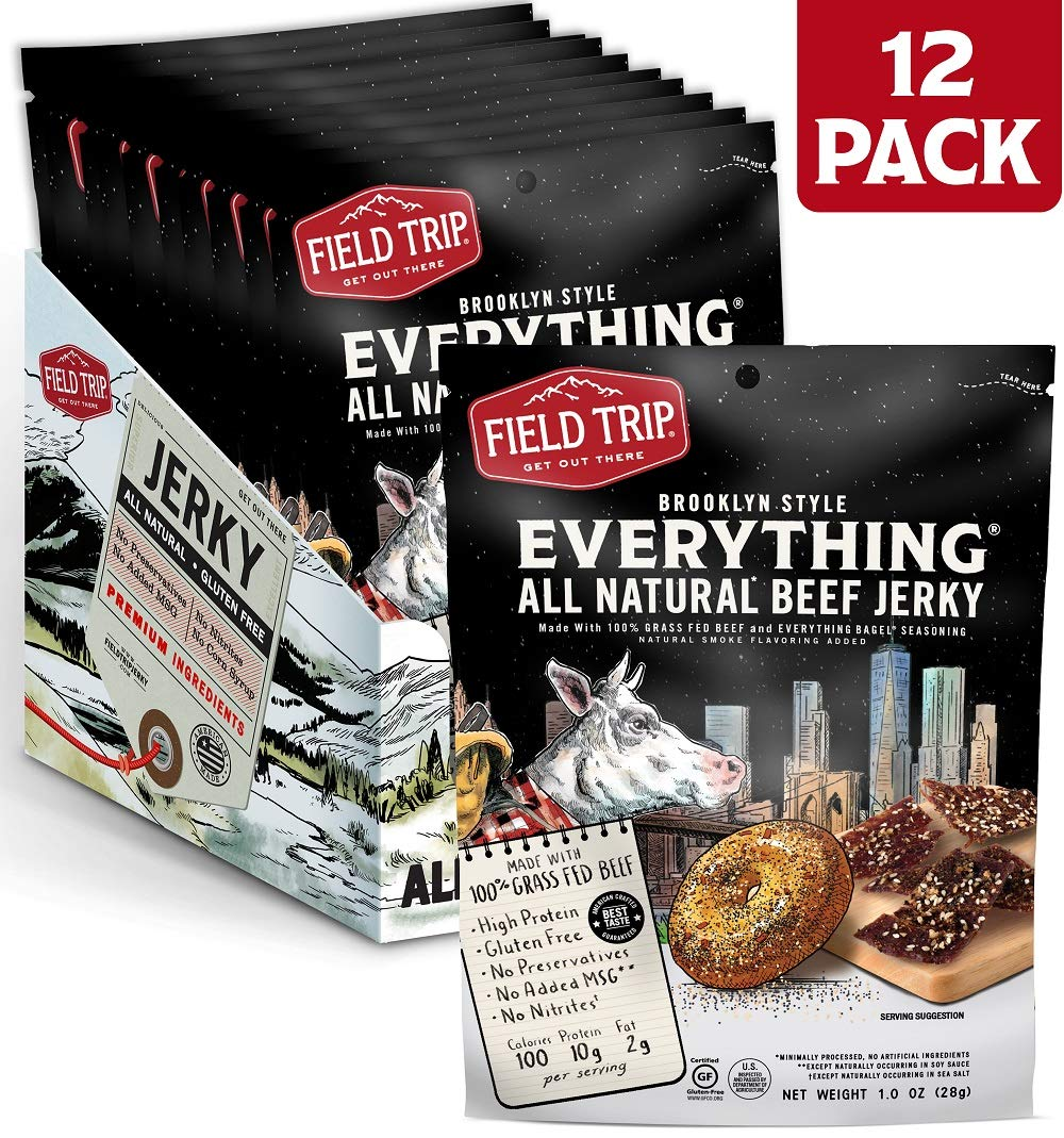 Field Trip Gluten Free, High Protein, Everything Bagel Beef Jerky, 1 Ounce Bag, 12 Count by Field Trip Jerky