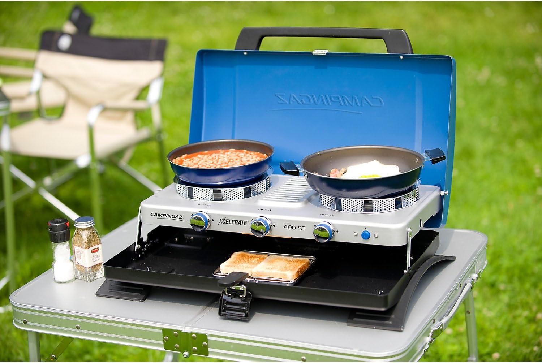 CAMPINGAZ Series Xcelerate 400 ST - Cocina de Camping, con Doble Quemador, con tostadora, Color Azul