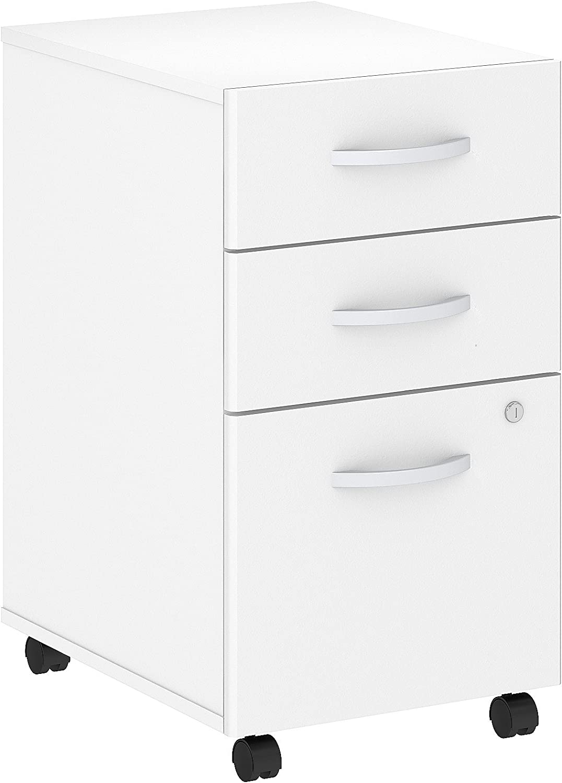 Bush Business Furniture Studio C 3 Drawer Mobile File Cabinet in White