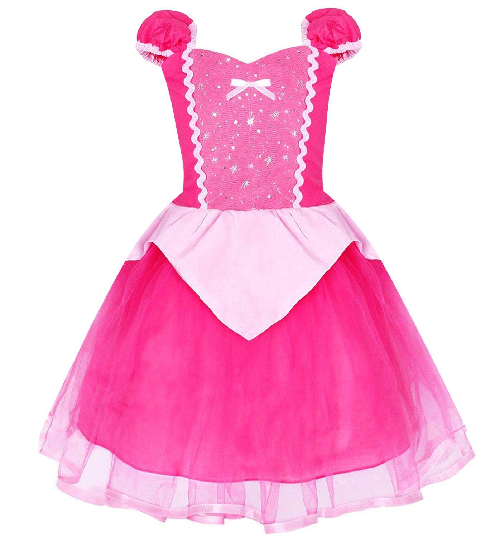 Eshiree Kids Princess Dress Rose Fancy Party Costume (Rose, 5)