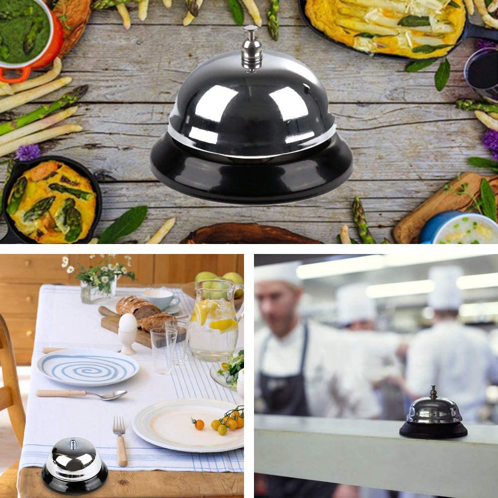 Desk Bell Service Bell for the Porter Kitchen Restaurant Bar Classic Concierge Hotel Use Silver 8.5 cm Diameter IWILCS Ringing Service Bell