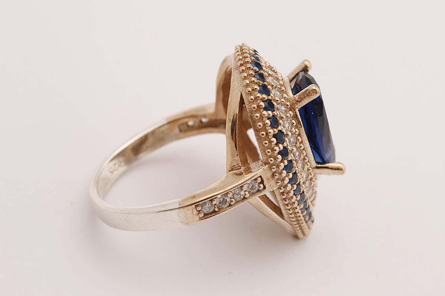 Turkish Handmade Jewelry Small Drop Shape Pear Cut Sapphire and Round Cut Topaz 925 Sterling Silver Ring Size All