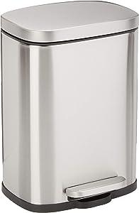AmazonBasics Rectangular, Stainless Steel, Soft-Close, Step Trash Can - 5 Liter / 1.3 Gallon, Satin Nickel