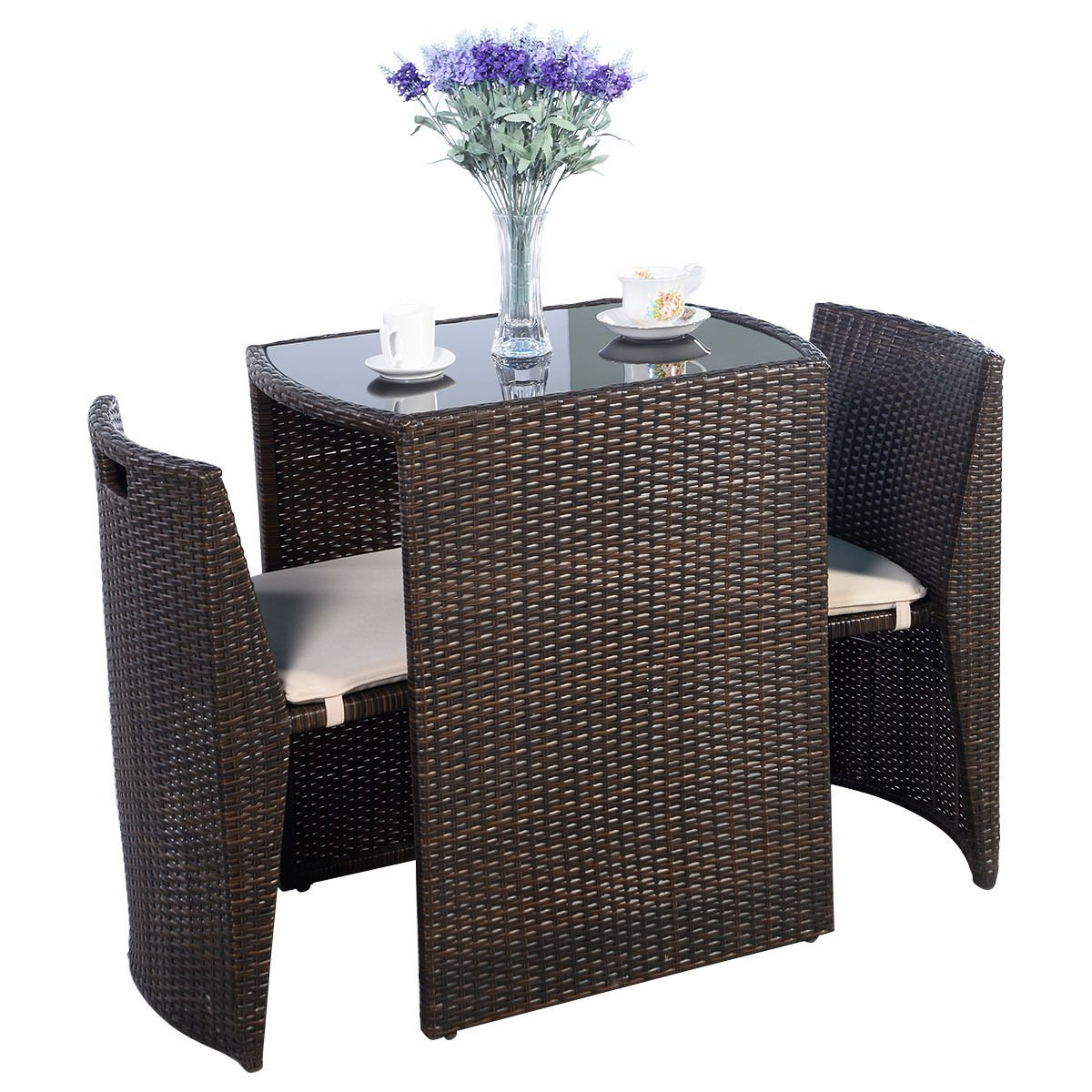 Outdoor Furniture – Patio Wicker Dining Table and Chairs With Cushions Set 3 Piece – All-Weather – Great for Backyard Porch Garden and Balcony – Brown – by Global Group