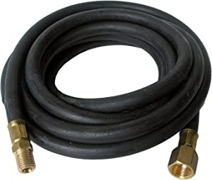 LASCO 16-9065 Rubber Propane 12-Feet High Pressure Cooker/Smoker Hose with 1/4-Inch Male Iron Pipe by 3/8-Inch Female Flare Swivel