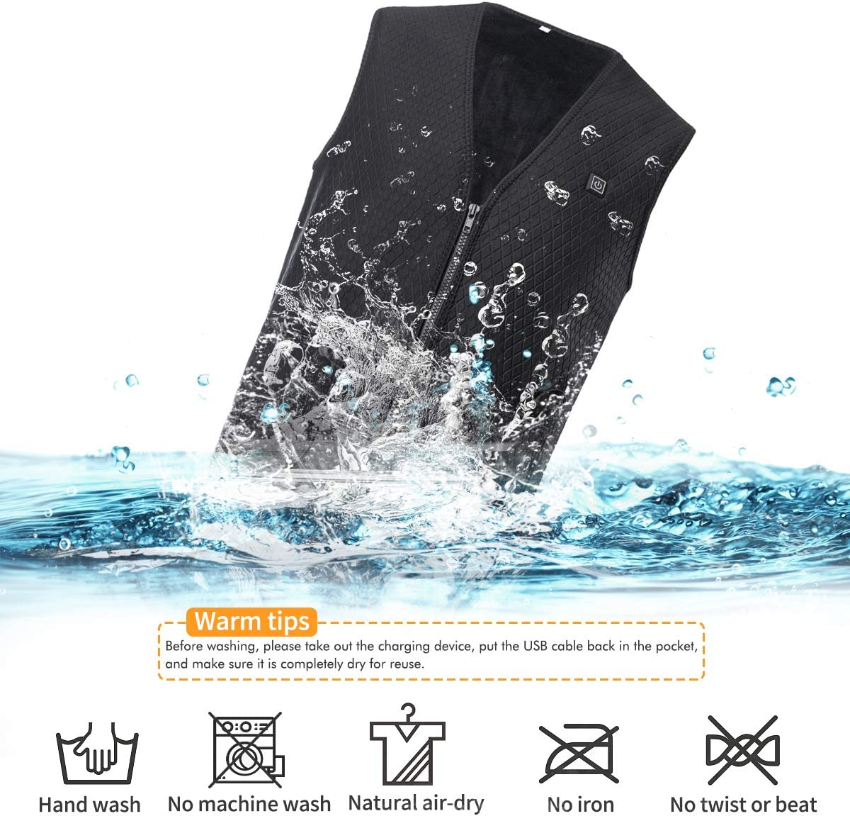 Martiount Gilet Chauffant avec Charge USB Lavable Hiver Chaud Gilet pour Les Activit/és Ext/érieures Convient pour Les Hommes et Les Femmes P/êche Ski Chasse
