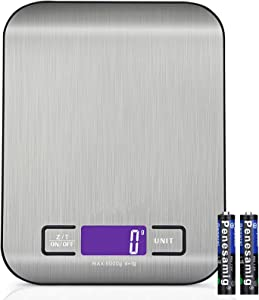 Digital Food Kitchen Scale, Weight Grams and Oz, LED Backlit Display (AAA Battery), Stainless Steel 10kg(22lb)
