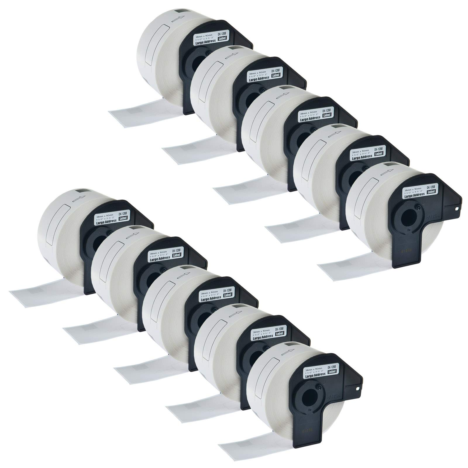 KCYMTONER 10 Rolls Compatible Brother DK-1208 Continuous Length Paper Tape Labels 38mm x 90mm(1-1/2'' x 3-1/2'') for QL-500 QL-550 QL-650TD QL-700 QL-1050 QL-1060N Printer with 10 Snap-On-Frame
