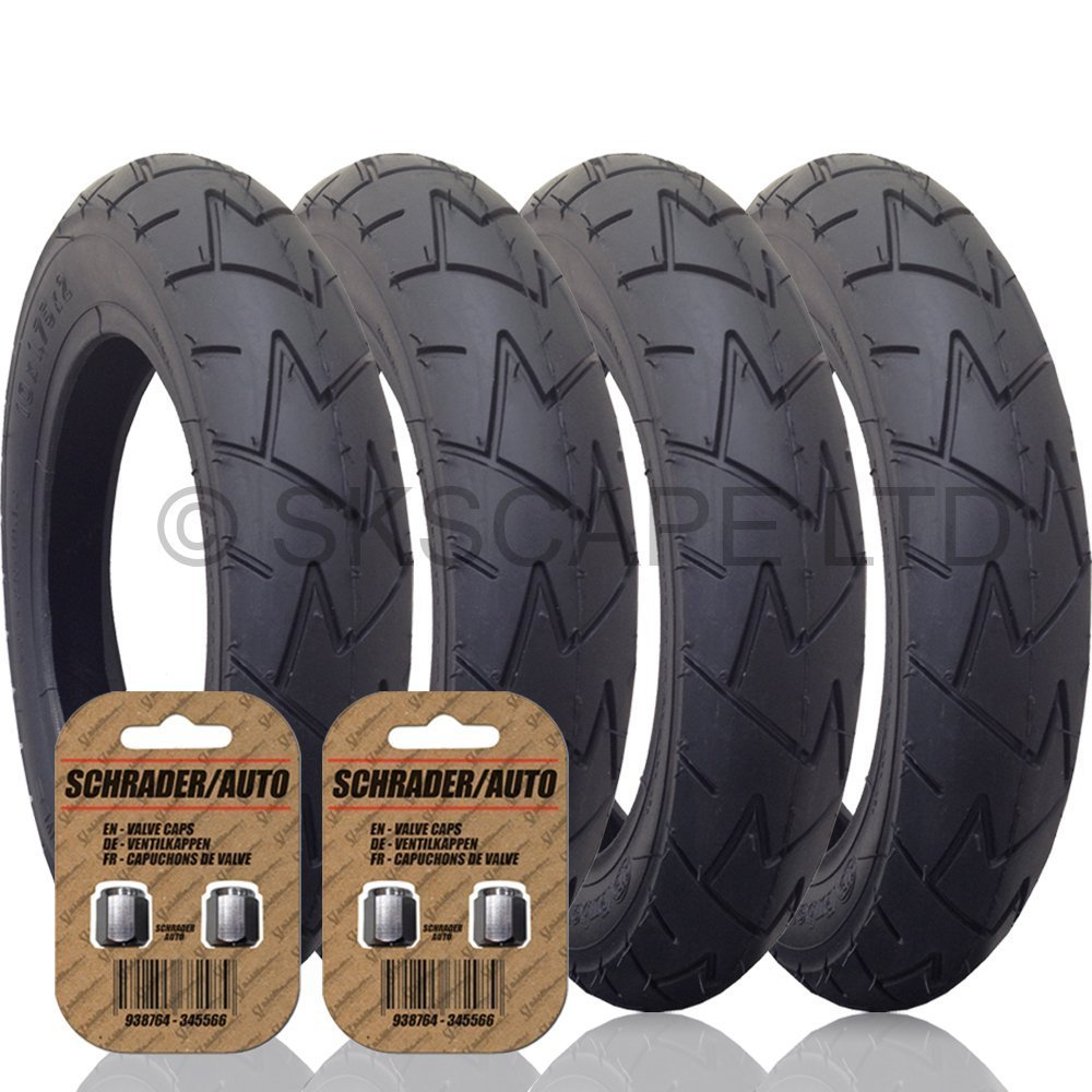 4 x MOUNTAIN BUGGY DUET Suitable Stroller / Push Chair Tires to fit - 10' x 1.75 - 2.00 (Black) Super Grippy & Fast Rolling + + FREE Upgraded Skyscape Metal Valve Caps (Worth $4.99) Rubena & Skyscape
