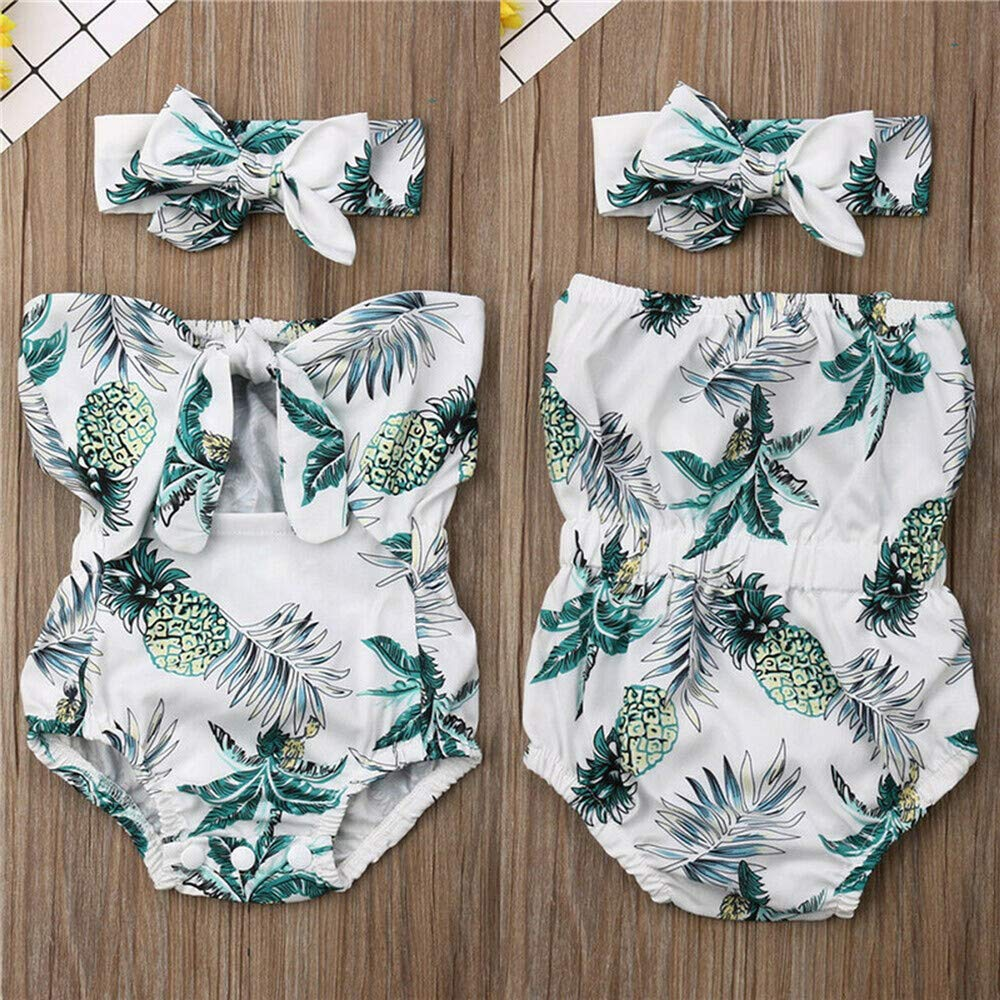 la1-UIENC Baby Girls Cotton Romper Newborn Baby Girl Pineapple Printed Wrap Chest Romper Jumpsuit Clothes