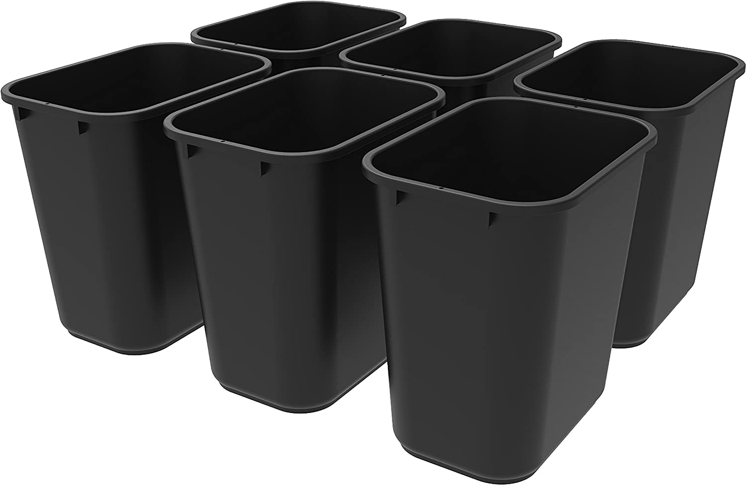 Storex Medium Waste Basket, 15 x 10.5 x 15 Inches, Black, Case of 6 (STX00710U06C)