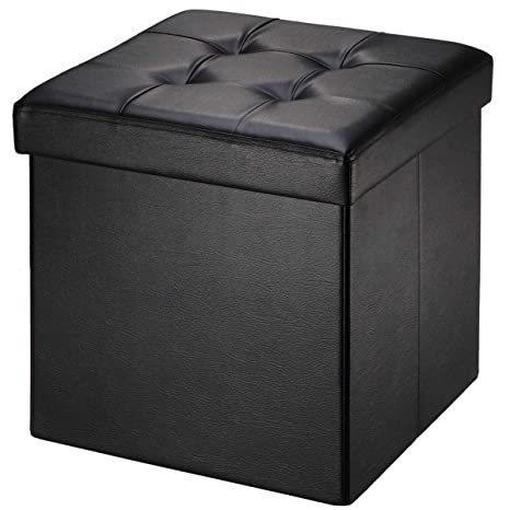 Groovy Brian Dany Faux Leather Folding Storage Ottoman Bench Seat Foot Rest Stool Coffee Table 15X15X15 Black Alphanode Cool Chair Designs And Ideas Alphanodeonline