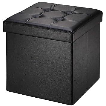 Brian Dany Pouf Coffre De Rangement Tabouret Pliant Pouf De Pliable Cube Simili Cuir 38 X 38 X 38 Cm Noir