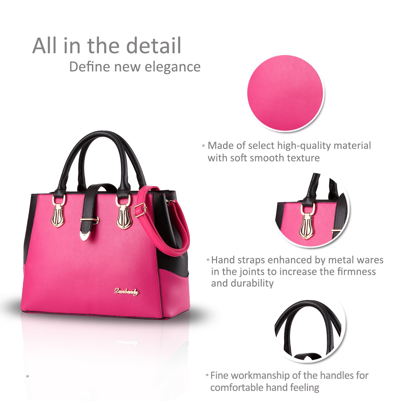 d84ee48ae3cd Nicole Doris 2016 new black and white faishon style handbag casual shoulder  bag cross-body work bag purse for ladies(Rose)