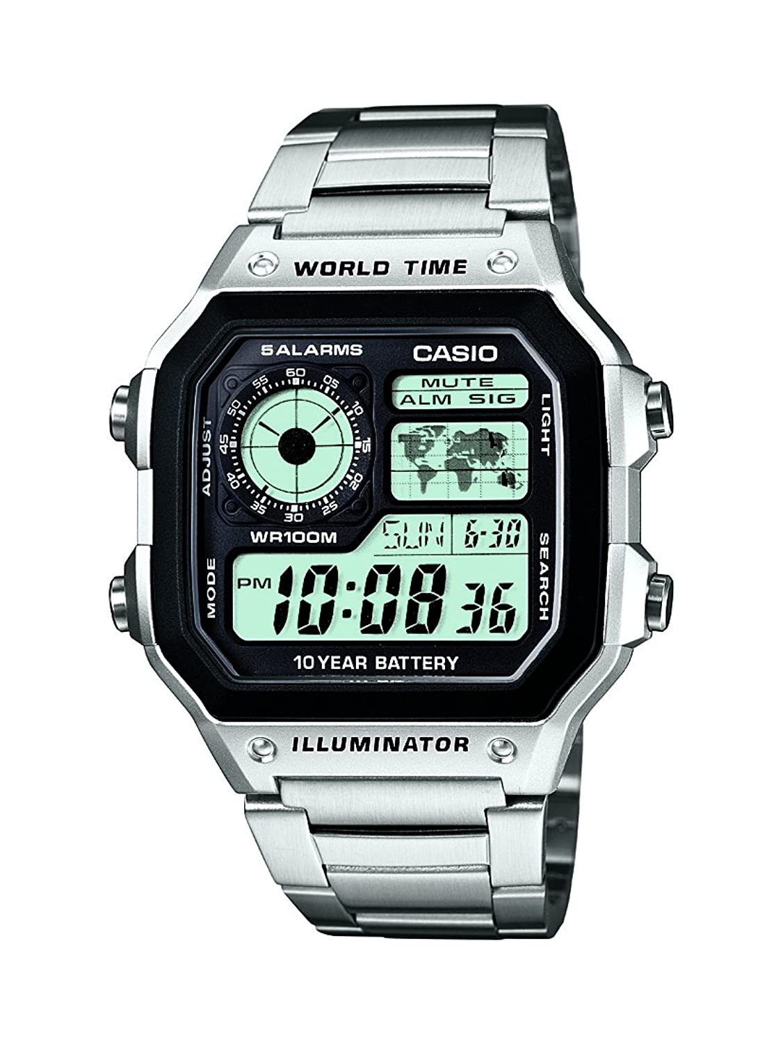 Casio men s collection digital watch with stainless steel bracelet ae 1200whd 1avef