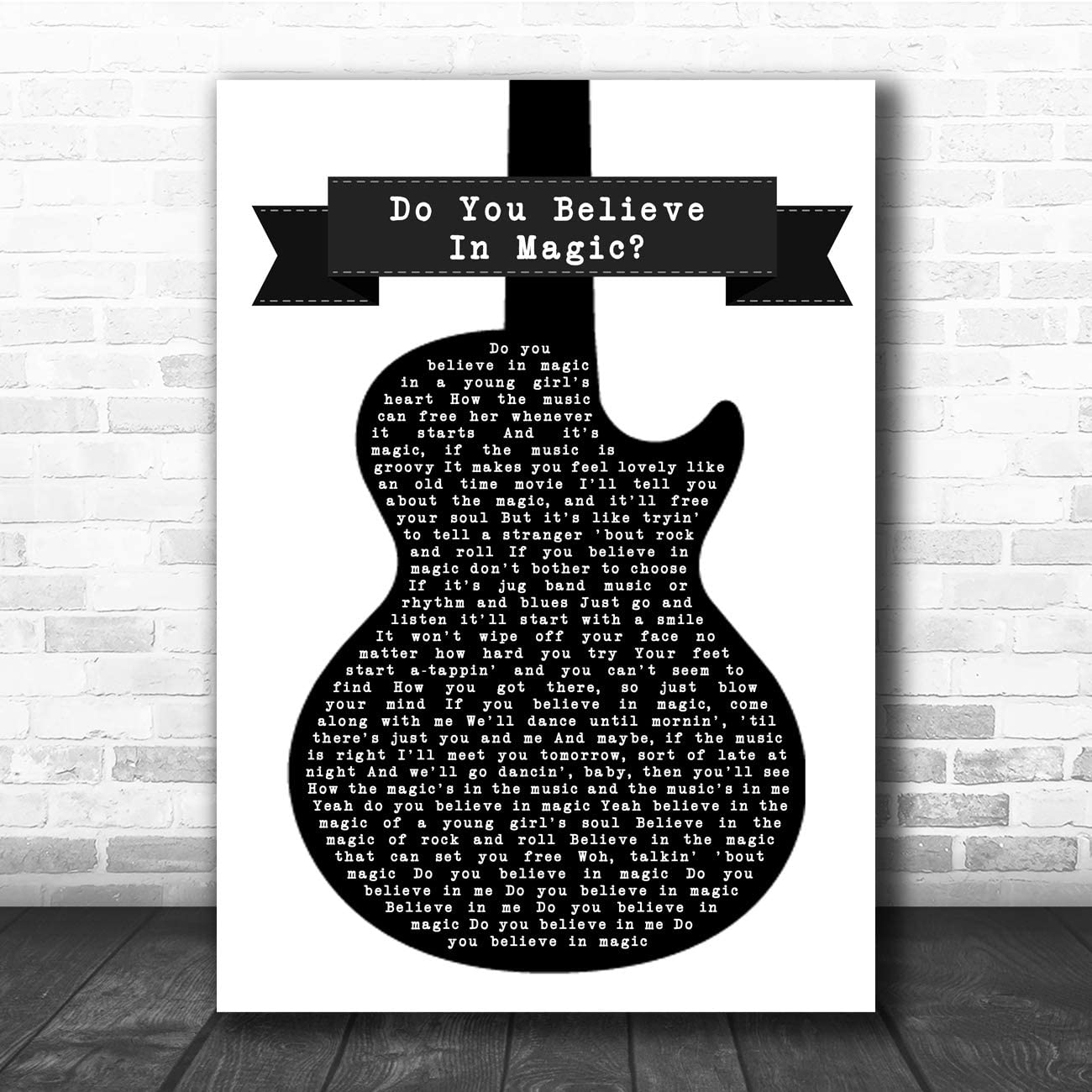 Do You Believe in Magic - Letra, diseño de guitarra, color blanco y negro: Amazon.es: Oficina y papelería