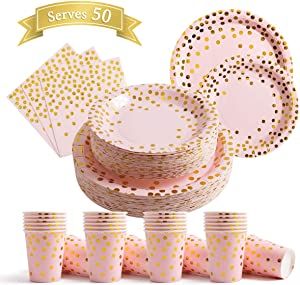 200Pcs Pink Disposable Paper Plates Cups Napkins Set - Pink and Gold Party Supplies, Gold Dots on Pink 50 Dinner Plates 50 Dessert Plates, 50 Napkins and 50 9 oz Cups for Baby Shower Birthday Parties