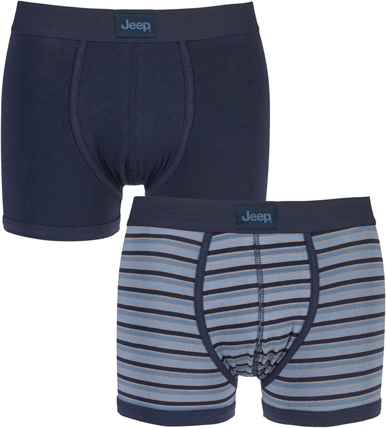 Jeep Mens 2 Pack Spirit Varried Stripe and Plain Cotton Rich Keyhole Trunks