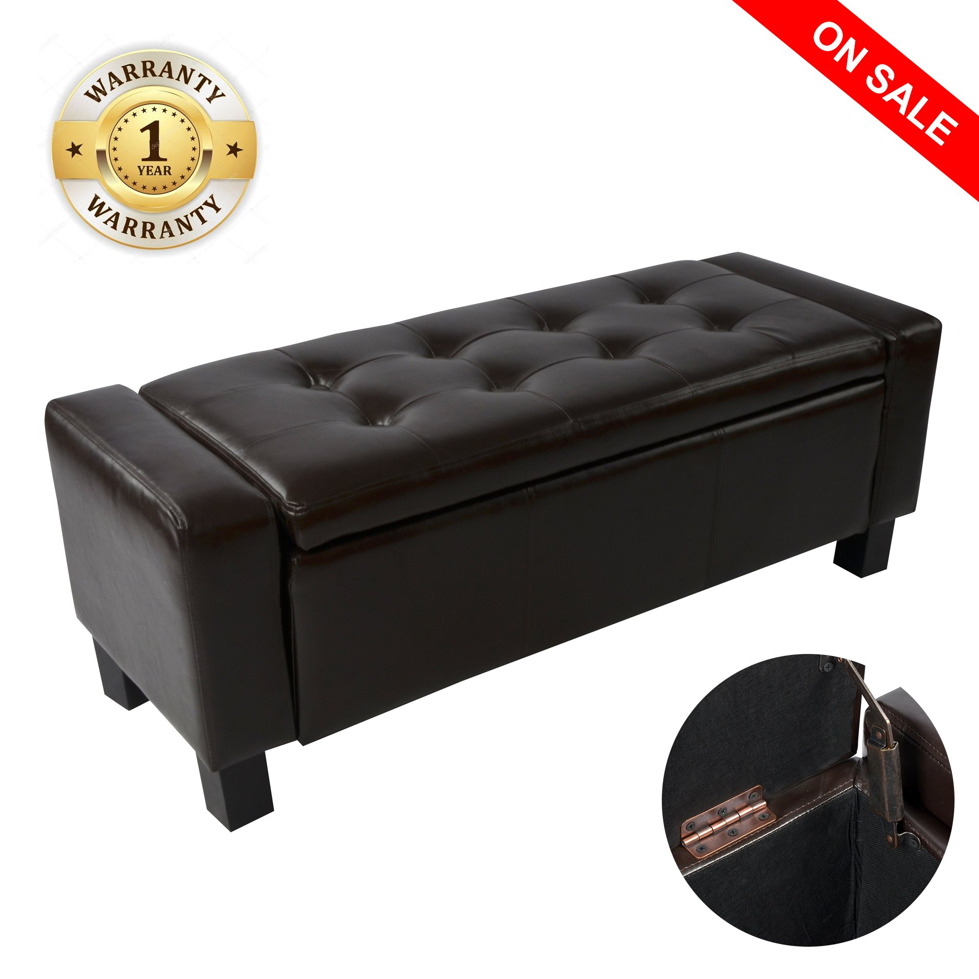 windaze Ottoman Storage Bench 42'' Tufted Footrest Rectangular Faux Leather(Brown)