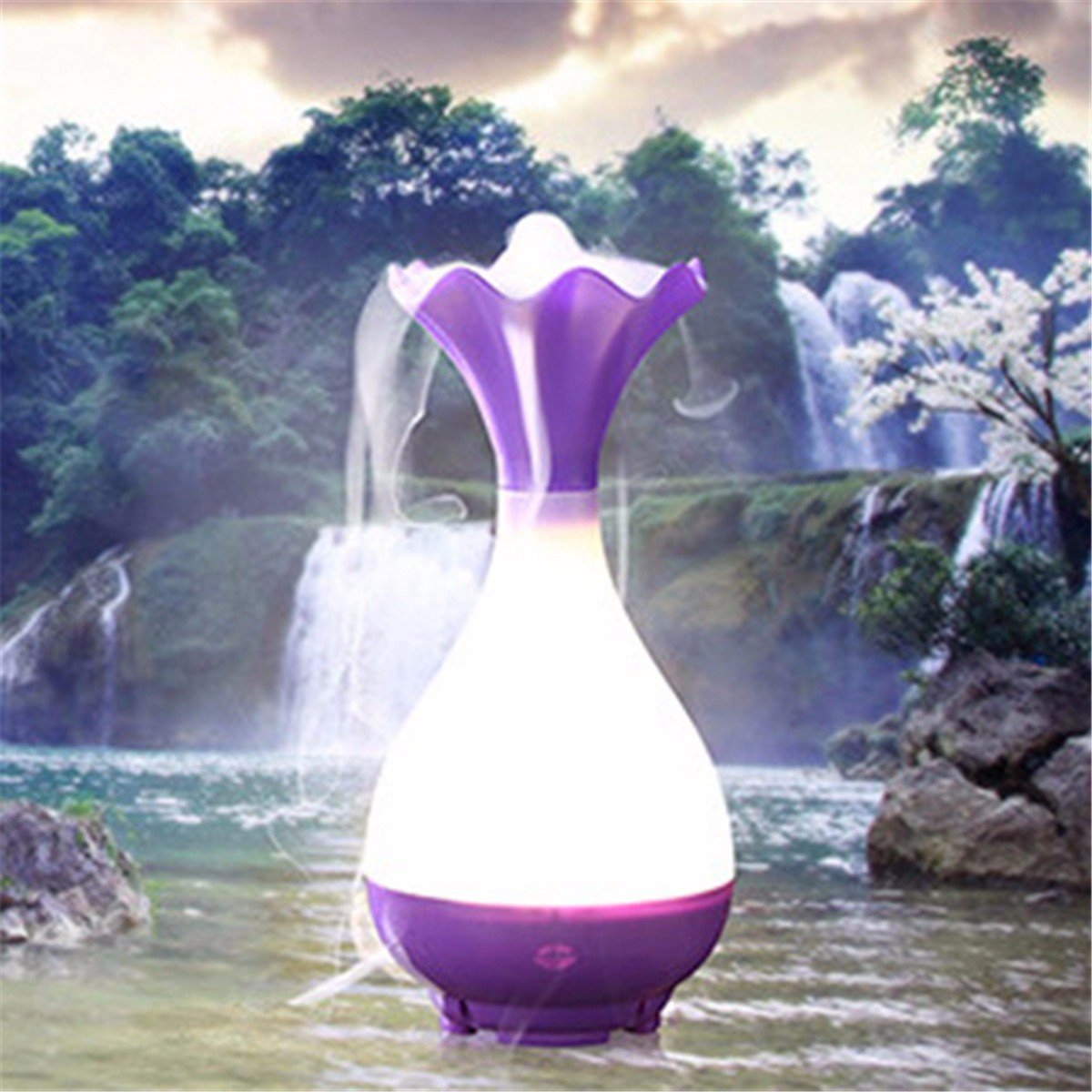 Essential Oil Diffuser LuckyFine USB Humidifier Jade Vase Aromatherapy Diffuser Mist Maker with Light Purple