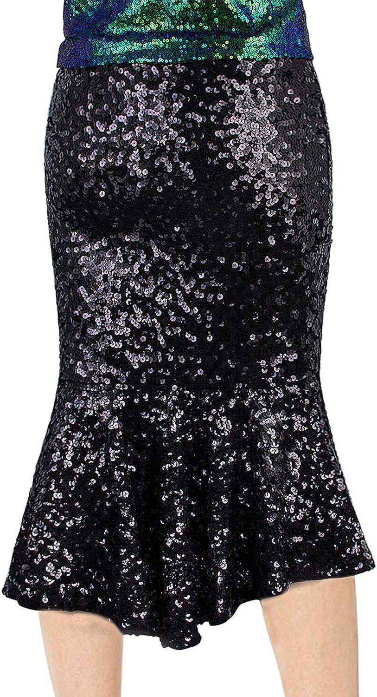VIJIV Womens Sequin Mermaid Skirt Plus Size High Waist Glitter Long Bridesmaid Party Fishtail Pencil Skirt