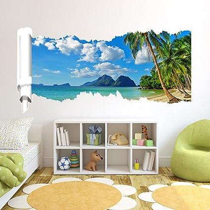 LXPAGTZ Creativo 3D adesivo murales camera da letto Green HD sfondo ...