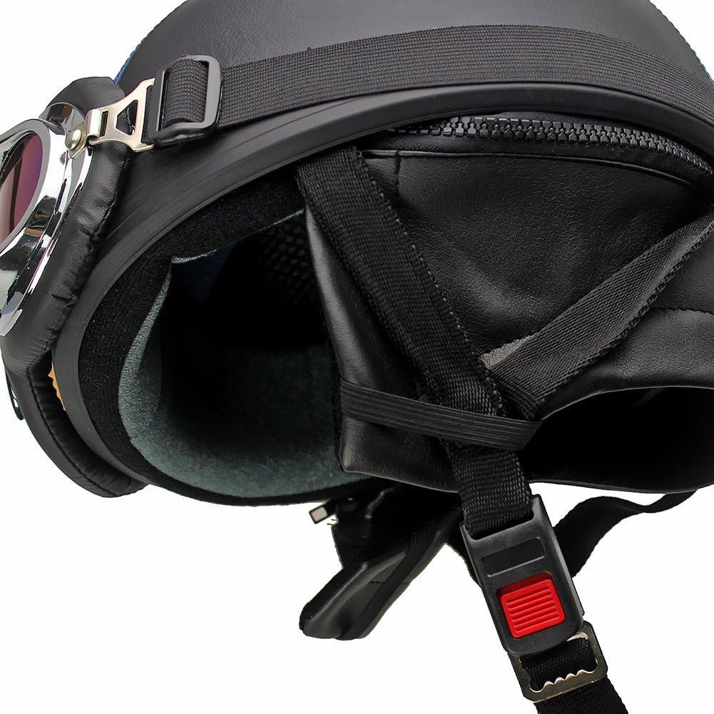 Oshide Bike Scooter Motorcycle Half Helmet with Goggles Glasses Visor for Women Men Black