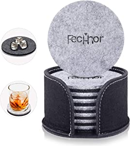 Fecihor Coasters for Drinks Set of 8, Absorbent Felt Coasters with Holder, Drink Coasters for Home Counters, Modern Decorative Table Coasters to Protects Your Furniture