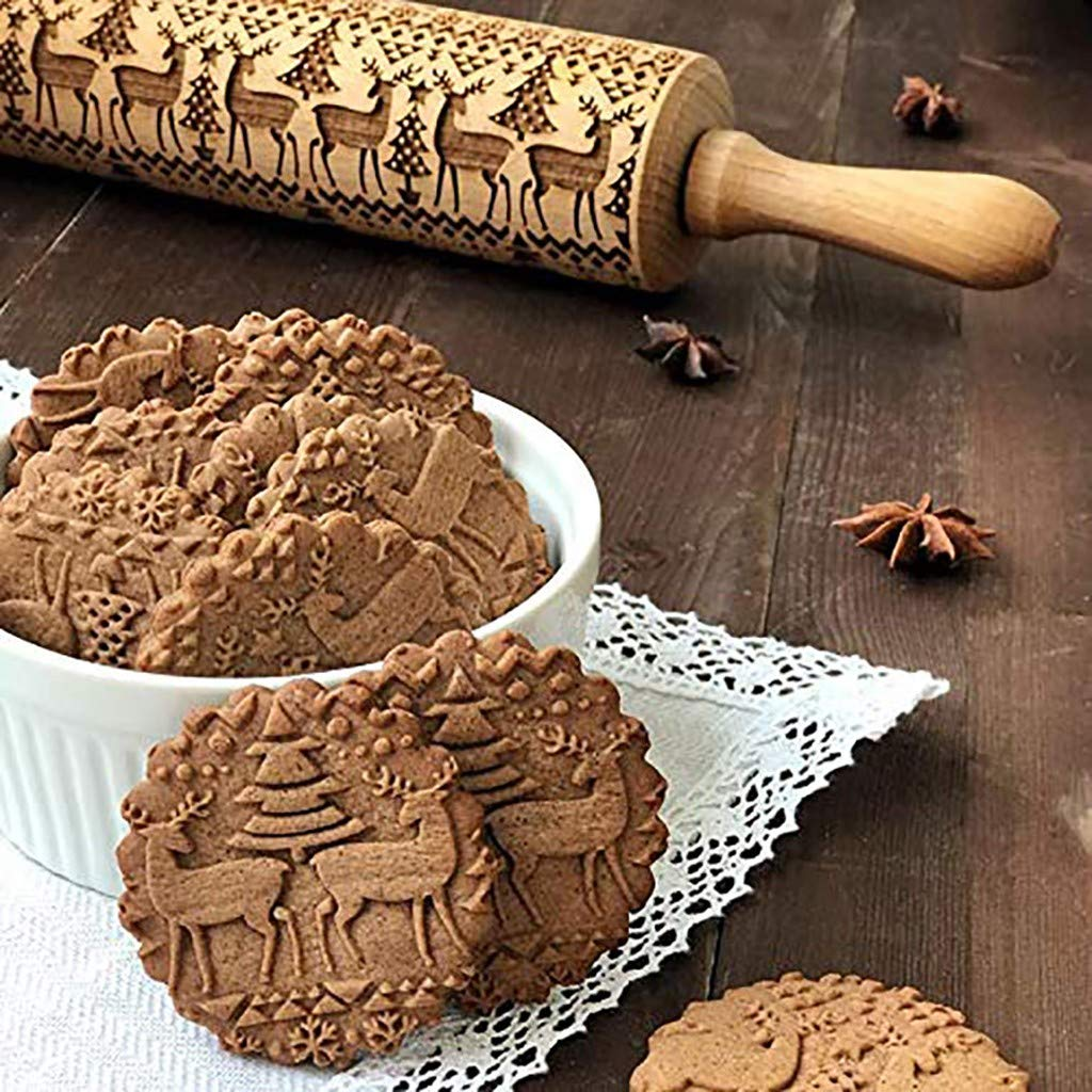 Christmas Wooden 3D Rolling Pins - Embossing Natural Wood Carved Engraved Rolling Pin Kitchen Tool with Christmas Snowflakes Deer Pattern for Baking Dough, Pie, Cookie, Fondant, Pastry, Biscuit (43cm) by RINKOUa