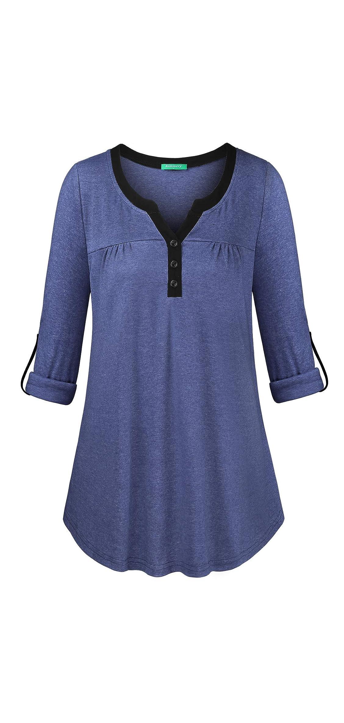 Kimmery Woman Henley Shirt Cuffed Sleeve Notch V Neck Casual