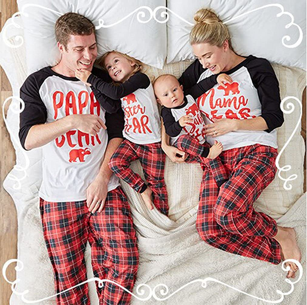 c185c81c Amazon.com: USGreatgorgeous Papa Mama Sisters Baby Bear Family Matching  Christmas Pajamas Sets for The Family (L(4T), Kids Only): Clothing