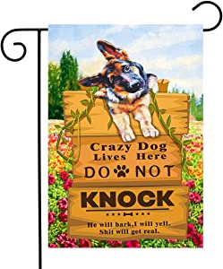 DZGlobal Crazy Dogs Live Here Flag Do Not Knock Sign Flag German Shepherd Garden Flag Dog Yard Flags for Outside Lawn Decor 12 x 18