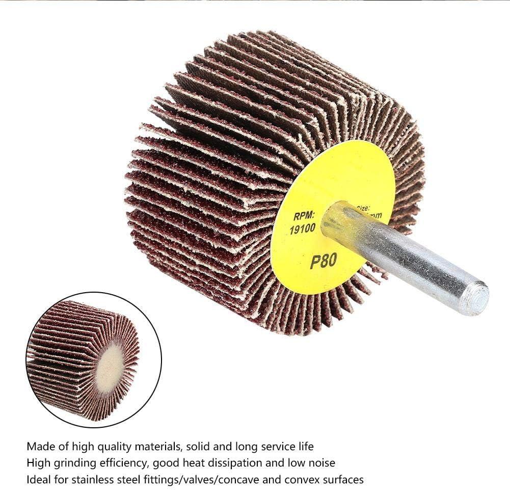 Roue de papier abrasif Roue /à lamelles 10 Pi/èces pon/çage disque de roue daileron de papier abrasif 80 grain avec tige de 6 mm pour le meulage et le polissage