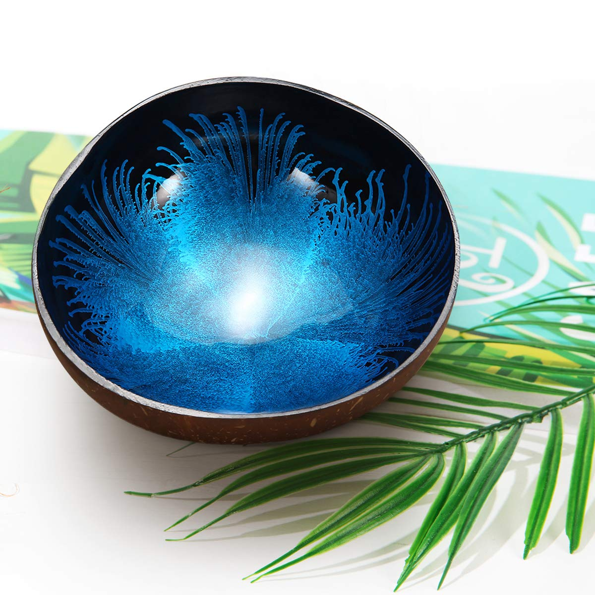 ESSORT Coconut Bowl, Natural Coconut Decorative Shell Handmade Unique Design for Party Home Kitchen Hotel Decoration Collection Wedding Birthday Gift Blue