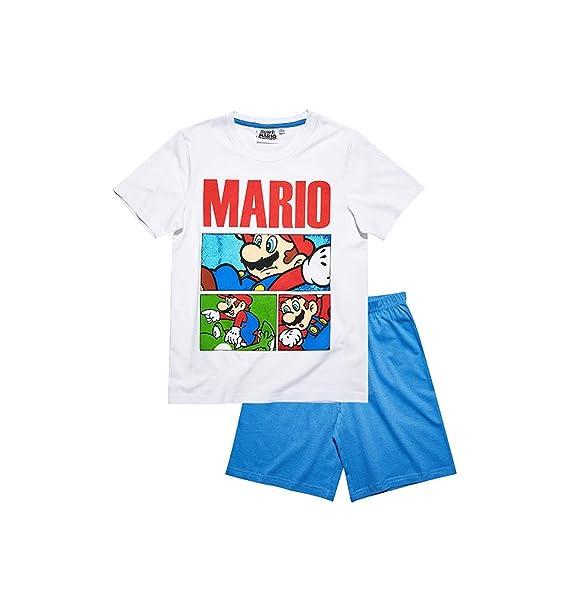 Mario Bros - Pijama dos piezas - para niño blanco/azul 10 años