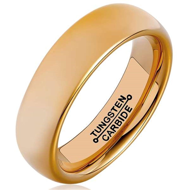 AmDxD Bijoux Modernes Gravure Gratuite Bague pour Homme Ronde Or Rose Bandes de Mariage 6MM