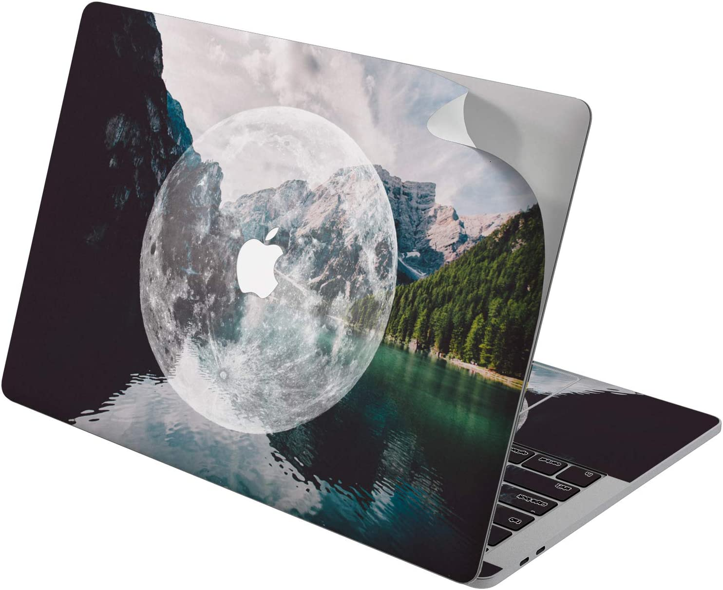 "Cavka Vinyl Decal Skin for Apple MacBook Pro 13"" 2019 15"" 2018 Air 13"" 2020 Retina 2015 Mac 11"" Mac 12"" Planet Sticker Moon Laptop Cover Lake Nature Lunar Forest Mountain Protective Nice Print Design"