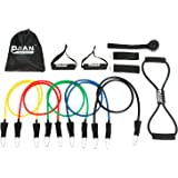 PIN JIAN Resistance Band Set 12 Pieces/20 Pieces with Exercise Tube Bands, Door Anchor, Ankle Straps, Chest Expander and Carry Bag - For Resistance Training, Physical Therapy, Home Workouts