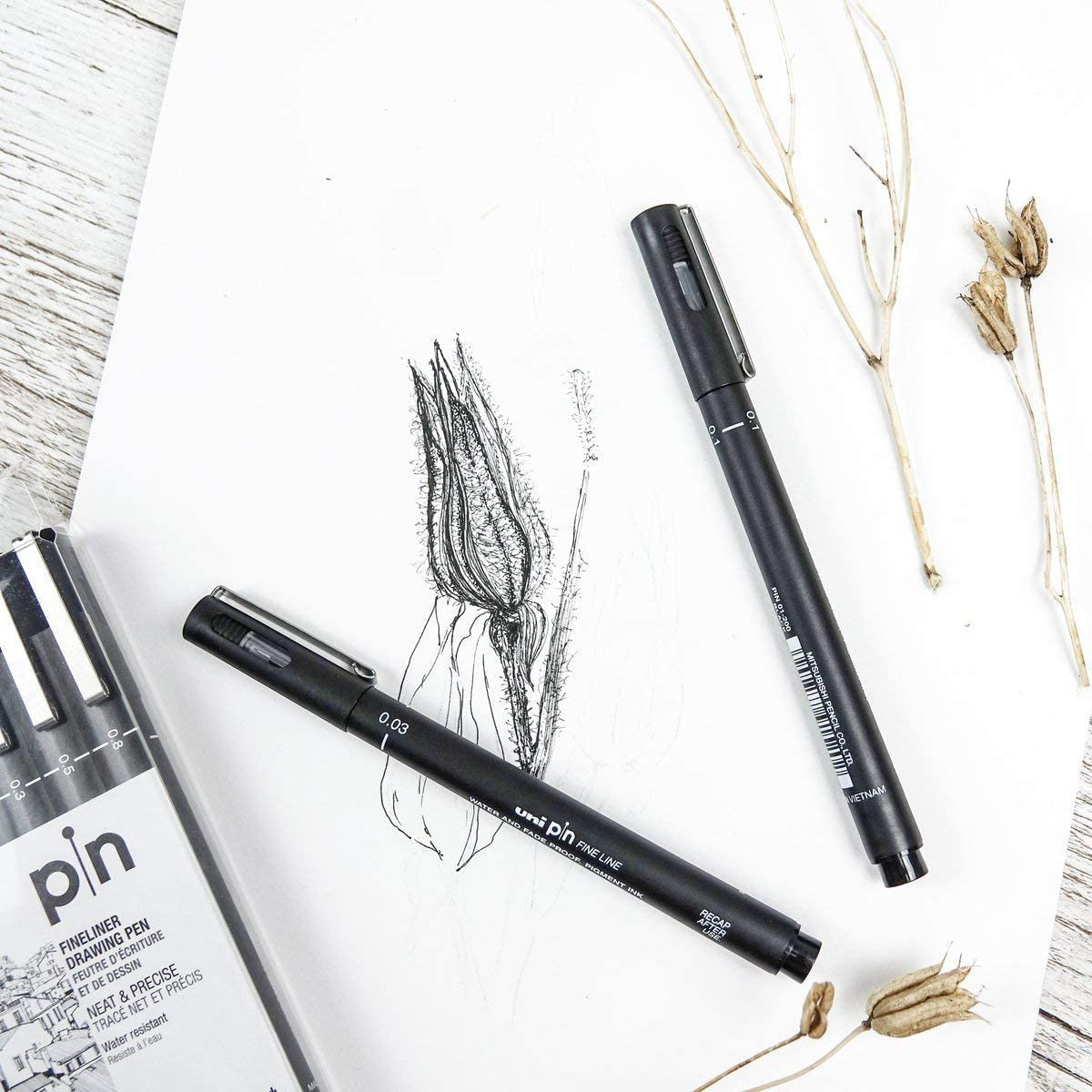 Uni Pin 02 Fineliner Dibujo Lápiz X 12 Piezas En Color Negro