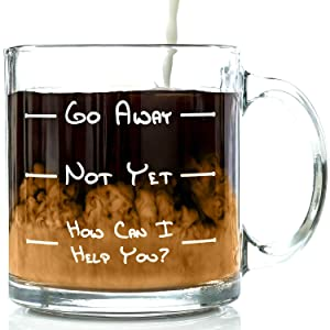 Go Away Funny Glass Coffee Mug 13 oz - Unique Christmas Gift For Men & Women, Him or Her - Best Office Cup & Birthday Present Idea For Mom, Dad, Husband, Wife, Boyfriend, Girlfriend or Coworkers