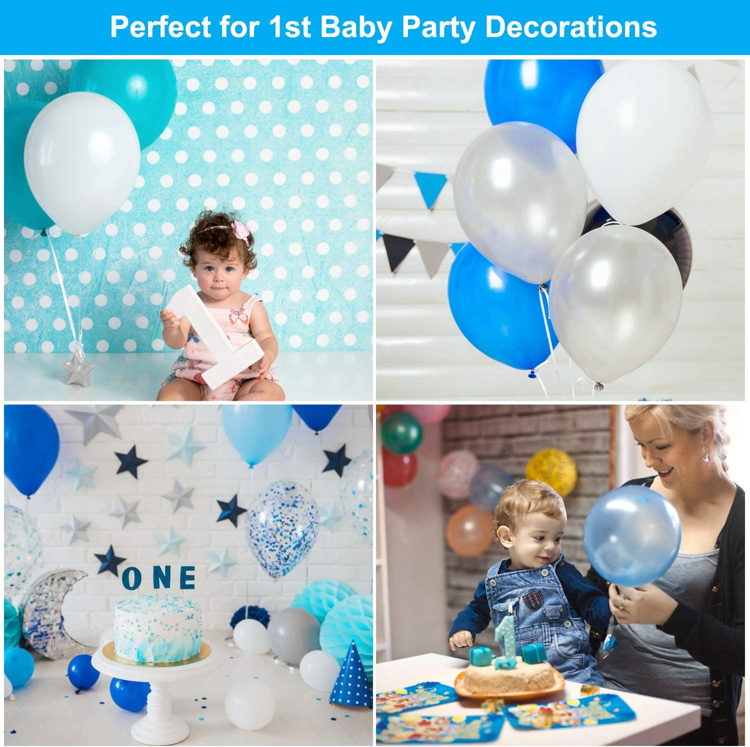 Happy Birthday Balloon Banners Blue Latex Balloons and Foil Balloons with Ribbons for Boys First Birthday Party Supplies Blue 1st Birthday Decorations Baby Boy