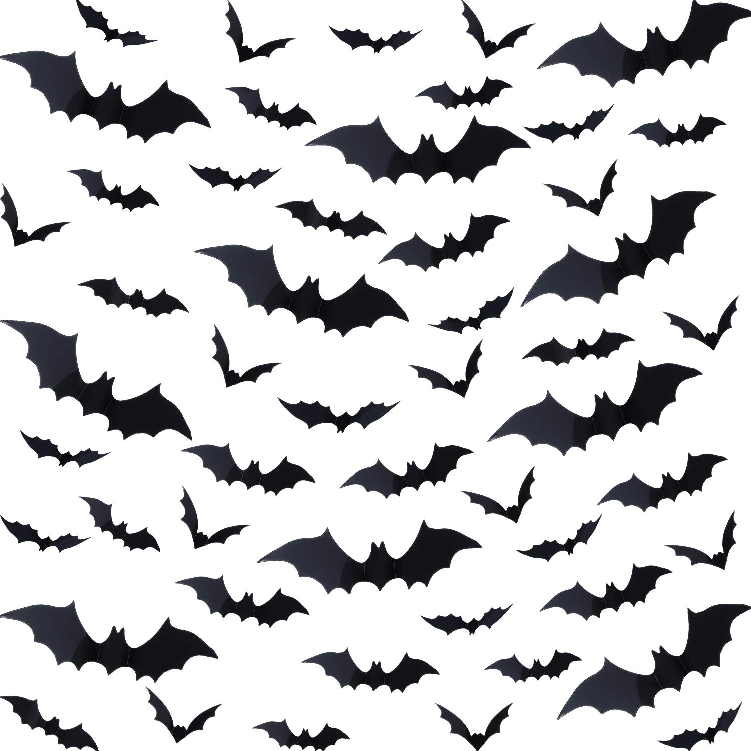 144 Pieces Halloween Scary Plastic 3D Bats Wall Decals Stickers, DIY Halloween Party Supplies PVC 3D Decorative Scary Black Bats, Window Decor Party Supplies Decoration Boao