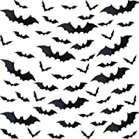 144 Pieces Halloween Scary Plastic 3D Bats Wall Decals Stickers, DIY Halloween Party Supplies PVC 3D Decorative Scary Black Bats, Window Decor Party Supplies Decoration