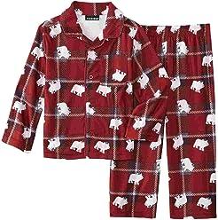 Joe Boxer Infant & Toddler Boys Red Plaid Bear 2-Piece Flannel Pajama Set