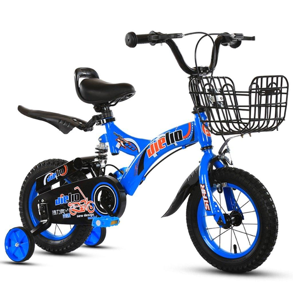 美しい 家チャイルドフォールド自転車3-6-8歳のベビーベビーカー12インチ14インチ16インチバイク (色 : 青, サイズ さいず : 12Inch) B07CXF47V9 12Inch|青 青 12Inch