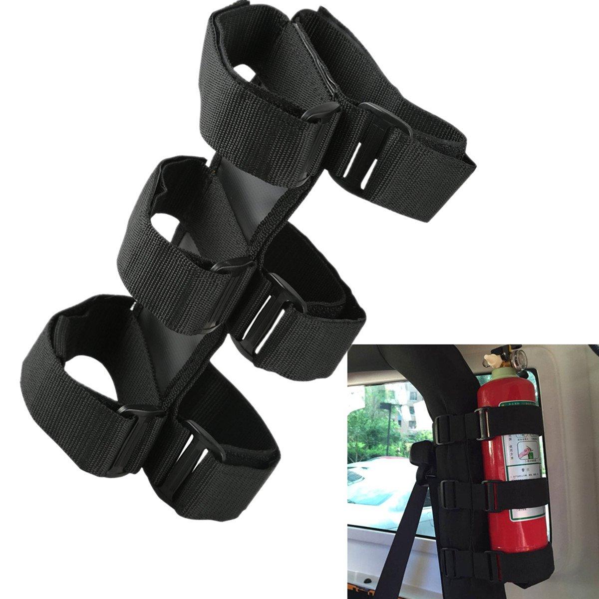 Black Adjustable Roll Bar Fire Extinguisher Holder For Jeep Wrangler TJ YJ JK CJ