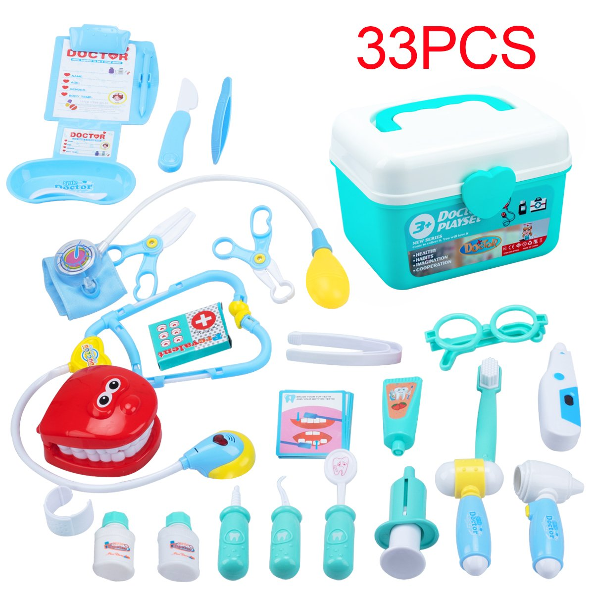 Keda Durable Kids DoctorキットPretend Play Toyセット33ピース歯科医医療キットwith電子聴診器for Boys and Girls グリーン  グリーン B07D27BDVF
