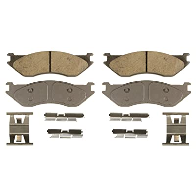 Wagner ThermoQuiet QC966B Ceramic Disc Pad Set With Installation Hardware, Front: Automotive